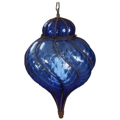 Seguso Murano Caged Cobalt Glass Pendant Light