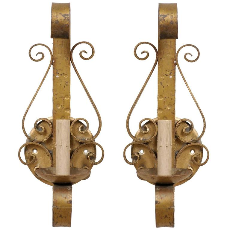 Spanish Iron Wall Sconces : Pair of Spanish Forged Iron Gold Painted Wall Sconces with Single Light For Sale at 1stdibs
