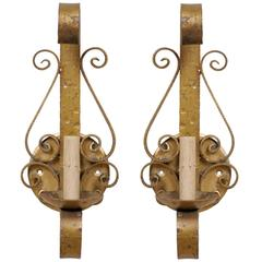 Pair of Spanish Forged Iron Gold Painted Wall Sconces with Single Light