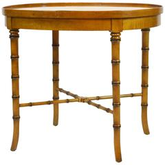 Vintage Mid-Century Baker Faux Bamboo Chinoiserie Style Oval Occasional Table