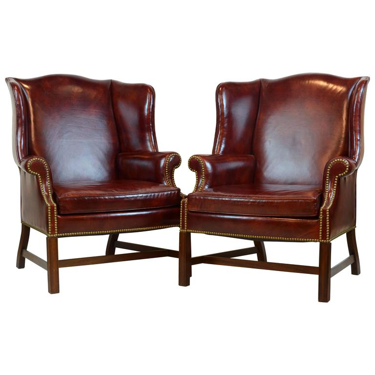 Pair of comfortable vintage george iii style leather for Comfortable wingback chair