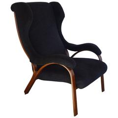 Mid-Century Italian Chair with Partial Wingback in Mohair