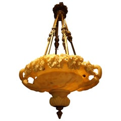 Antique Chandelier, Alabaster Plafonnier