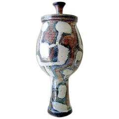 Larry Goldman Glazed Stoneware Lidded Urn