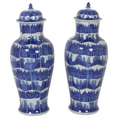 Elegant Pair of Blue and White Chinese Export Style Porcelain Lidded Jars