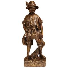 Mid-20th Century French Bronze Sculpture of Young Hunter with Birds and Rabbit