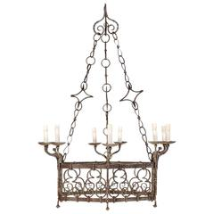 French Gothic Style Nine Light Vintage Iron Chandelier with Scroll Designs