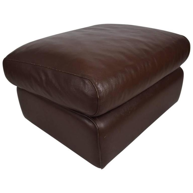 Poltrona Frau Chocolate Leather Ottoman Footrest Pouf For