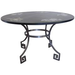 Polished Slate Top Table with Inset Flower Motifs on Steel Base, Italian, 1961