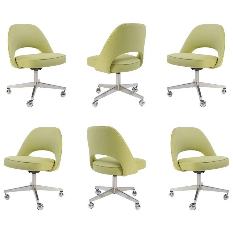 Saarinen For Knoll Executive Armless Chairs In Green Microfiber Swivel Base