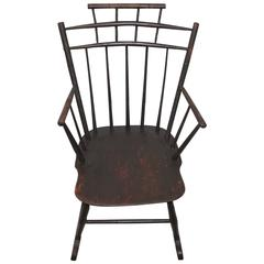 19th Century Brown Painted Windsor Rocking Chair
