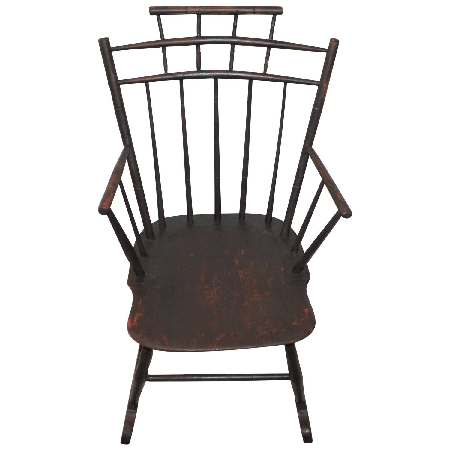 19th Century Brown Painted Windsor Rocking Chair For Sale at 1stdibs