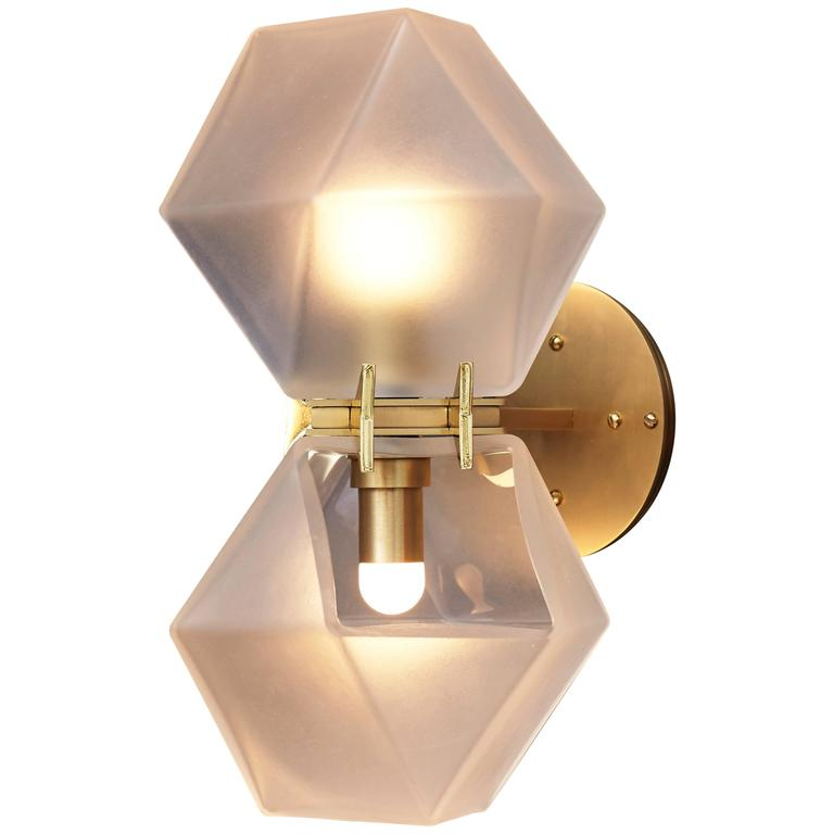 Welles Glass Double Wall Sconce, White and Brass For Sale at 1stdibs