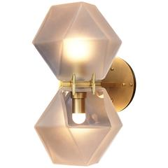 Welles Glass Double Wall Sconce, White and Brass
