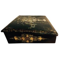 19th Century English Papier Mache Lap Desk Decorated in Mother-of-Pearl
