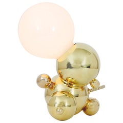 Bubbly 01-Light Small Sculptural Table or Desk Lamp in Polished Brass