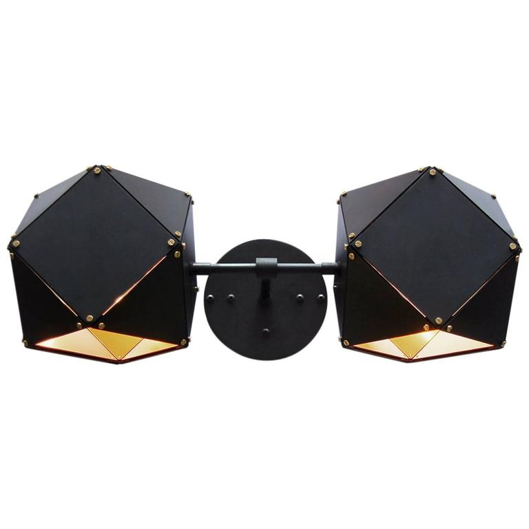 Welles Wall Sconce in Custom Finishes, Black and Satin Brass