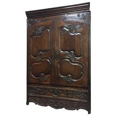 Exceptional 18th Century French Walnut Armoire Facade Original Hardware