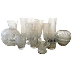 Large 13 Piece Collection of Dorothy Thorpe Floral Etched Glass Vases