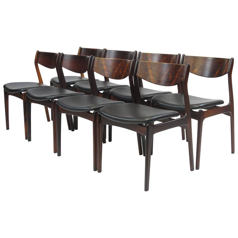 Eight Jorgensen Danish Rosewood Dining Chairs in Black Leather 1Eight Jorgensen Danish Rosewood Dining Chairs in Black Leather For  . Rosewood Danish Dining Table And Chairs. Home Design Ideas