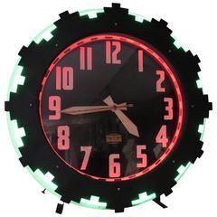 "Art Deco ""Aztec"" Two Color Neon Wall Clock"