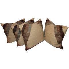 Set of Four Early 19th Century Brown and Tan Navajo Weaving Pillows