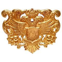 Miriam Haskell 22-Karat Russian Gold Crest Phoenix Coate of Arms Brooch