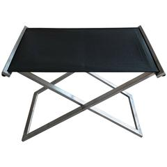 Danish Steel and Leather Folding Stool Model Rough #1 in by Michael Christensen