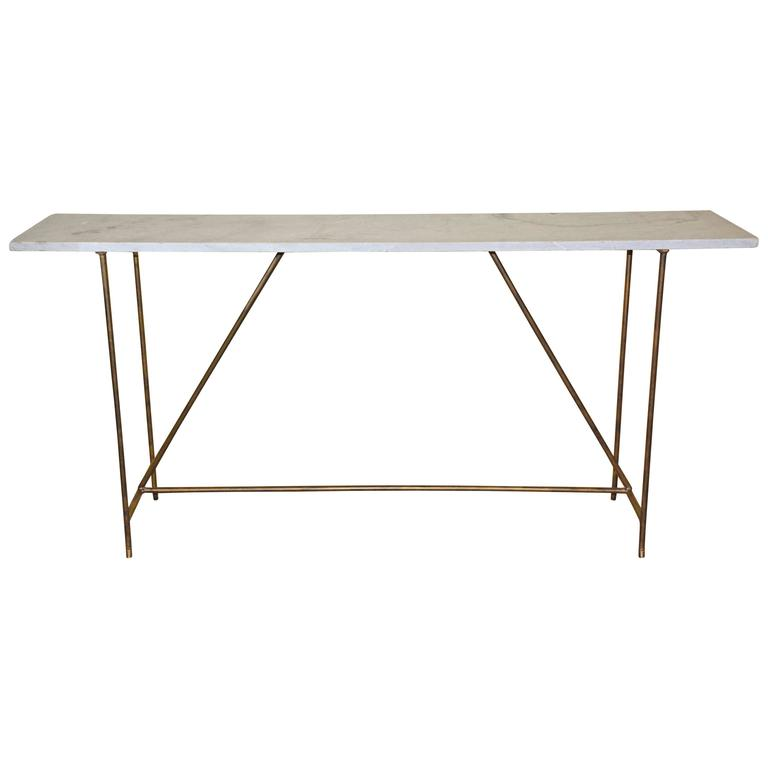 Rustic Marble and Iron Console Table For Sale