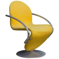 1973, Verner Panton, 1-2-3 Series Side Chair in Yellow Fabric