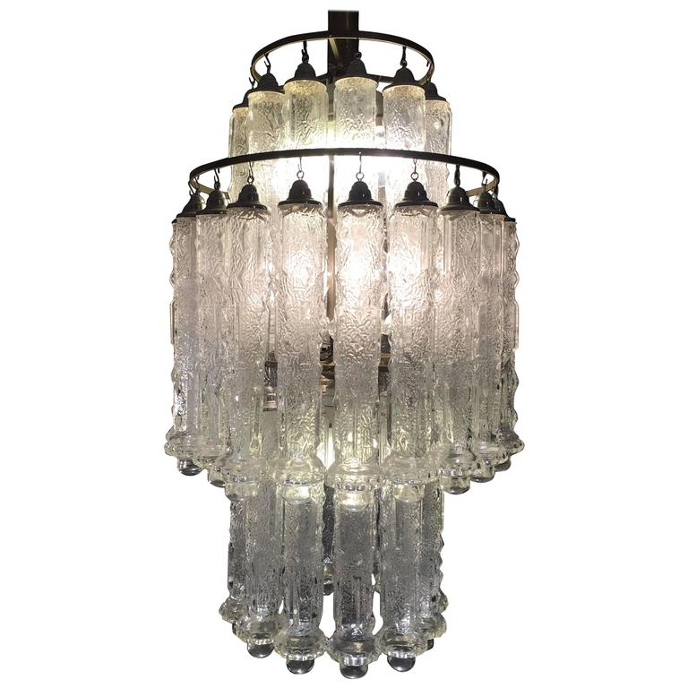 Superb Italian Murano Chandelier Venini Style 1960s For