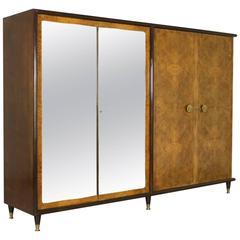Wardrobe Burl Rosewood Veneer Mirror Brass Vintage, Italy, 1940s-1950s