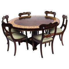Antique Calamander Table and Six Regency Dining Chairs