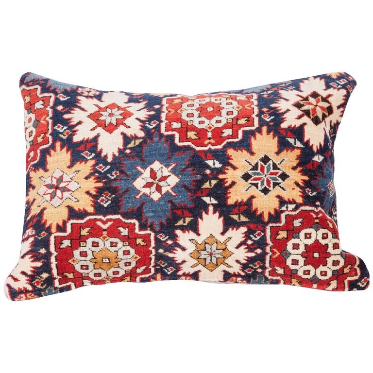 Pillow Made Out of a 19th Century Caucasian Shrivan Rug Fragment For Sale