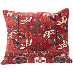 Antique Pillow with Velvet like Texture Made Out of a Turkmen Rug