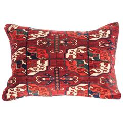 Antique Pillow with Velvet like Texture Made Out of 19th Century Turkmen Rug