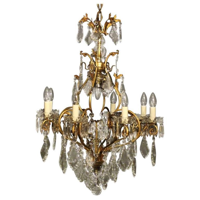 French Gilded Nine-Light Antique Chandelier