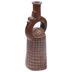 "Pre-Columbian Moche Polychrome ""Fishnet"" Stirrup Vessel"