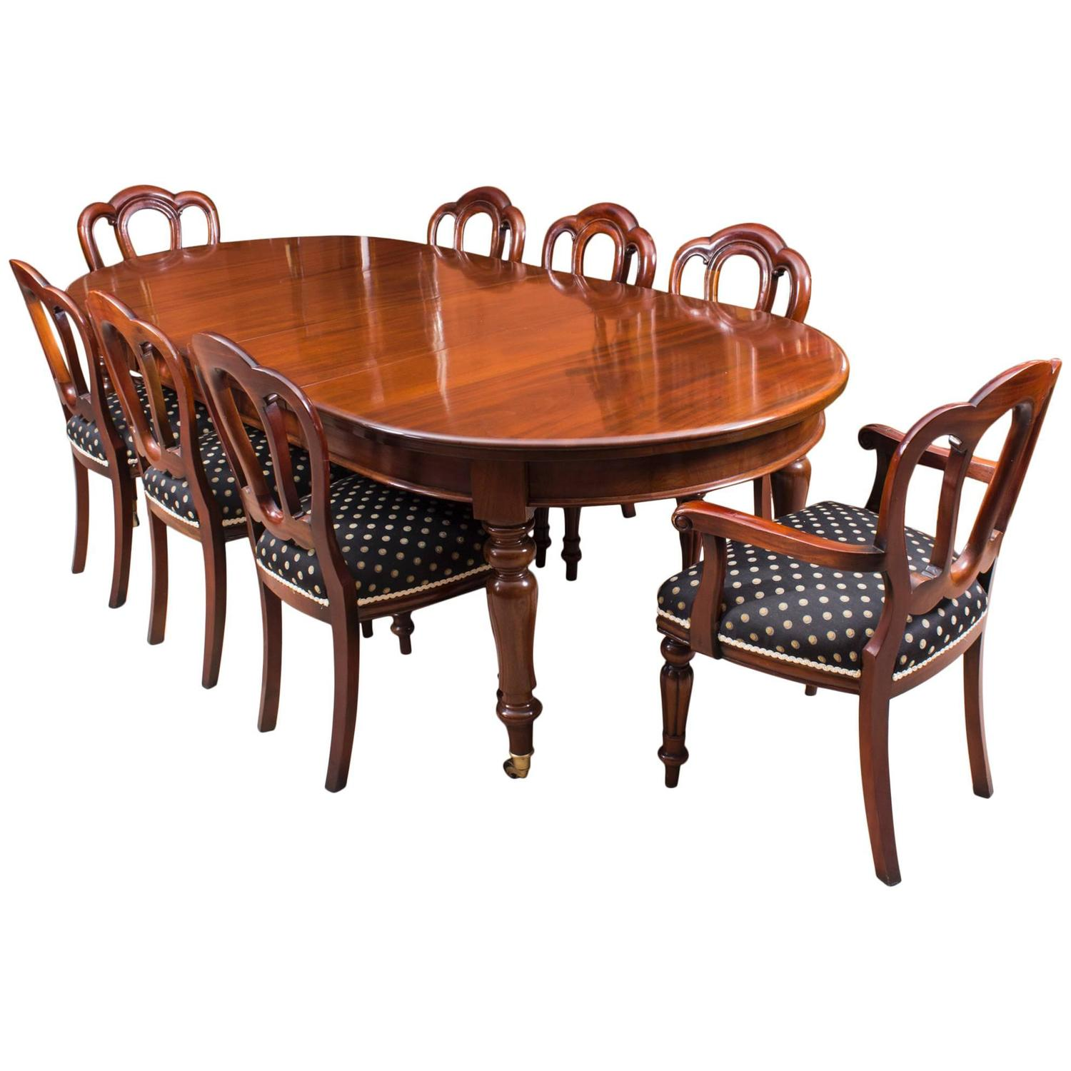 Antique victorian mahogany dining table c1880 and eight for 8 dining room chairs
