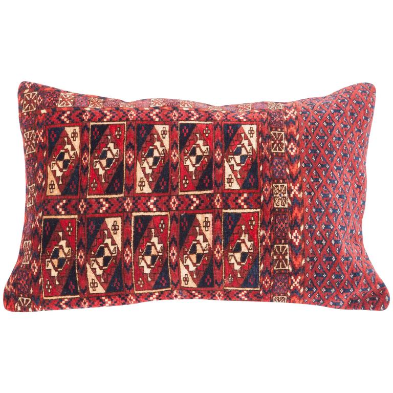 Antique Pillow with Velvet like Texture Made Out of a Turkmen Bag