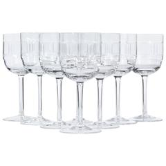 """1960s Rosenthal """"Squares"""" Glass Wine Stems, Set of Eight"""