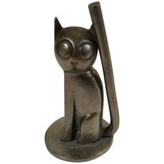 Karl Hagenauer Modernist Cat, Silvered Bronze