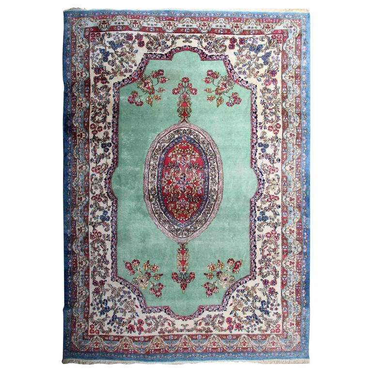 Vintage Persian Kirman Rugs With Turquoise Blue At 1stdibs