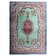 Vintage Persian Kirman Rugs with Turquoise Blue