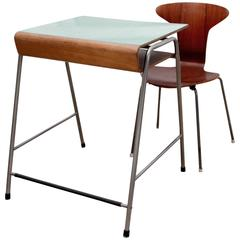 Arne Jacobsen, Original Munkegaard School Desk and Chair in Teak, 1950's