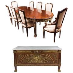 Ormolu-Mounted Dining Table, Chairs and Commode