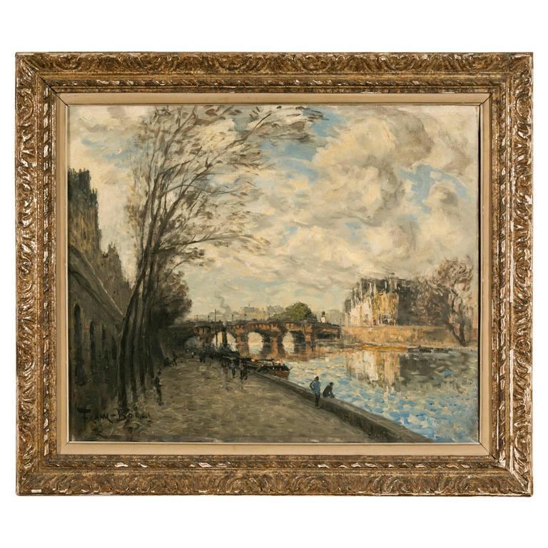 Frank Boggs, Oil on Canvas, Les Quais de la Seine à Paris