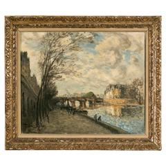Frank Boggs, Oil on Canvas, Les Quais de la Seine à Paris