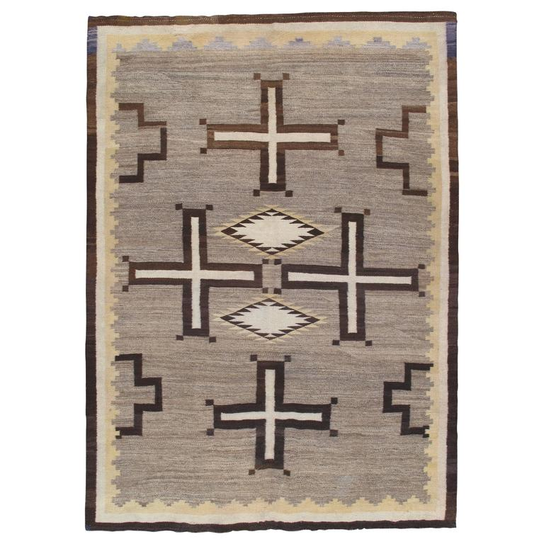Antique Navajo Carpet, Oriental Rug, Handmade Wool Rug, Gray Color