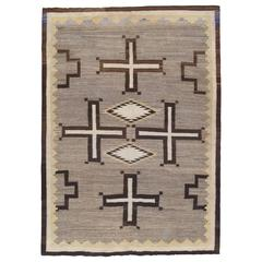 Antique Navajo Carpet, Oriental Rug, Handmade Wool Rug, Gray Color